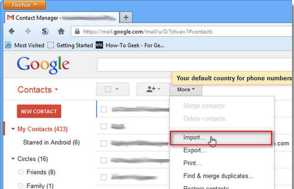 Importar contatos Gmail 2