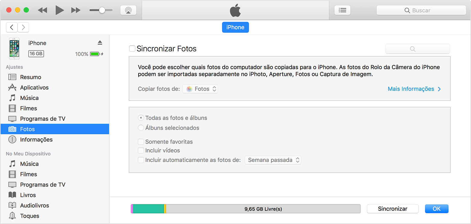 Transferir iTunes sincronizar passo 3