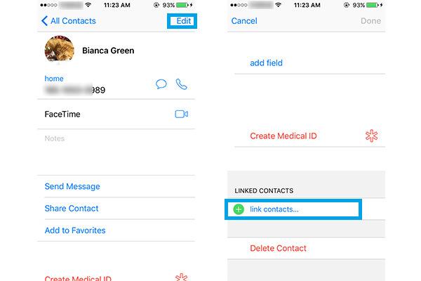 Juntar contactos en el iPhone paso 2