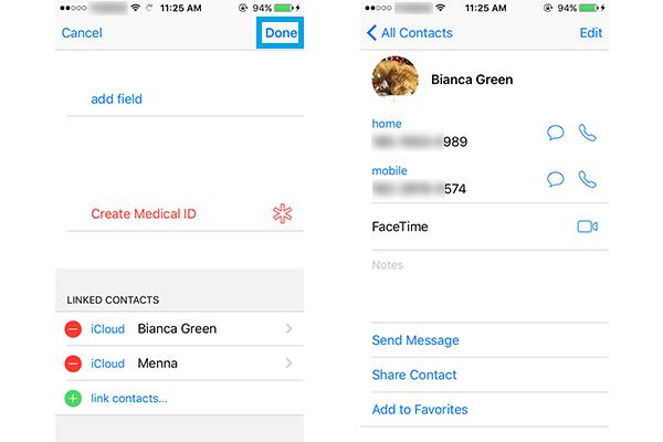 Juntar contatos no iPhone passo 4