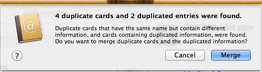 Juntar contatos duplicados Mac passo 2