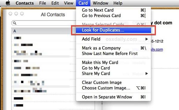 Juntar excluir contatos duplicados Mac passo 1