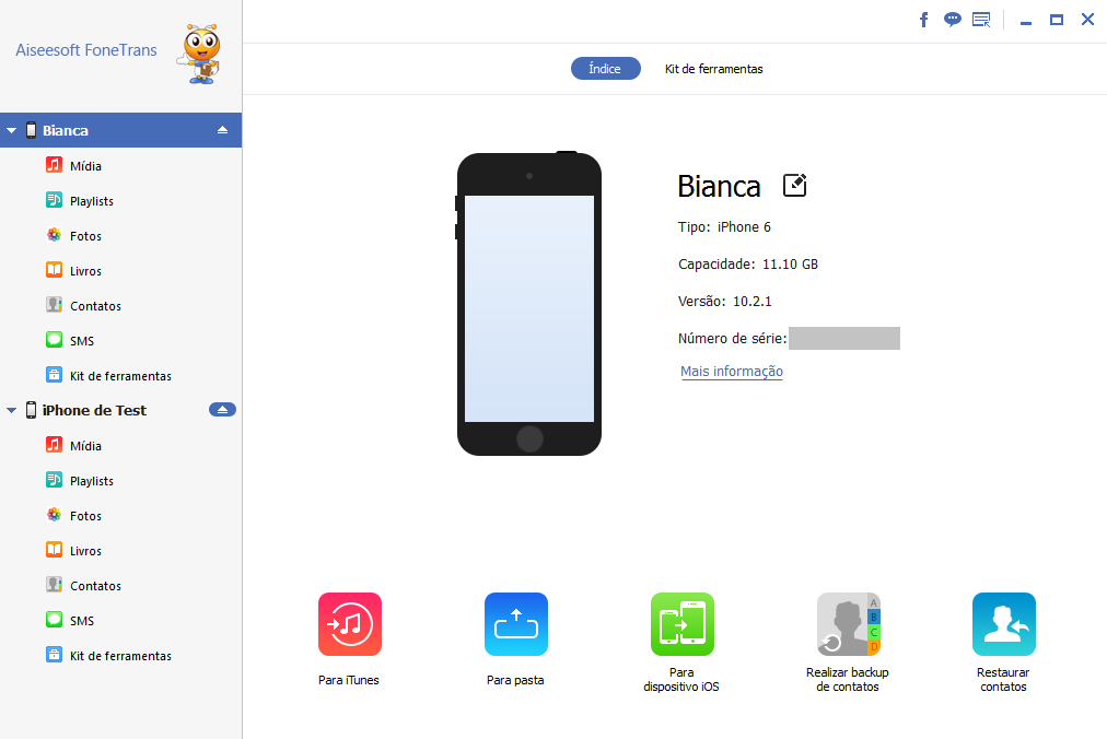 Backup restaurar dados iPhone Aiseesoft FoneTrans