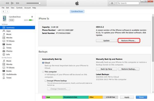 Restaurar iPhone iTunes