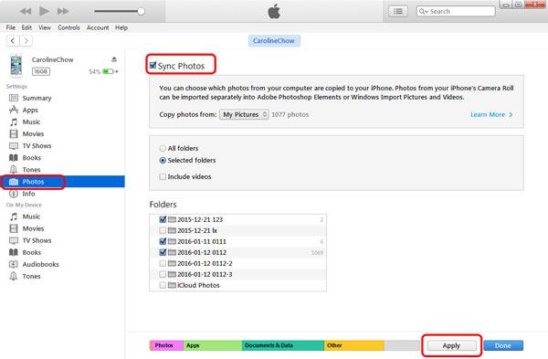 Transferir iTunes sincronizar paso 3