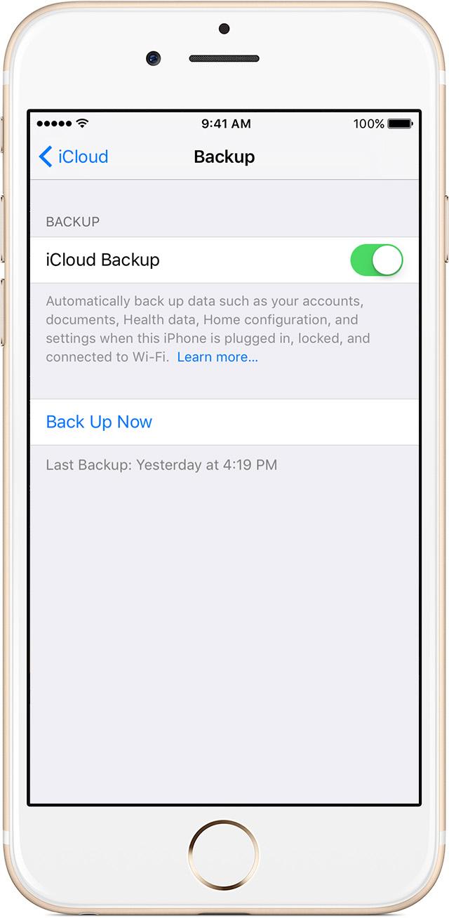 Passo 3 Ativar backup iCloud