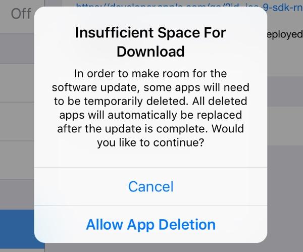 Falta espacio actualizar iOS