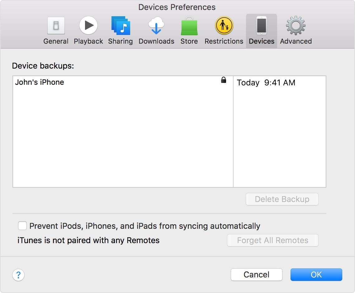 Preferências dispositivo iTunes