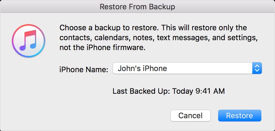 Restaurar a partir copia de seguridad iTunes