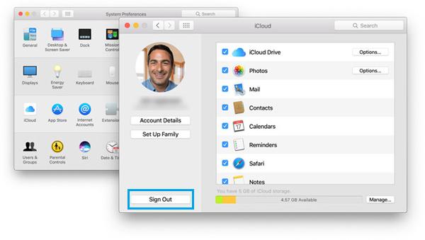 sair conta iCloud Windows