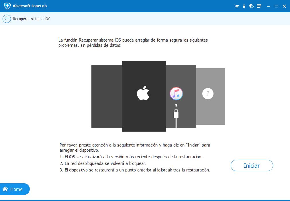 Iniciar el análisis del dispositivo iOS
