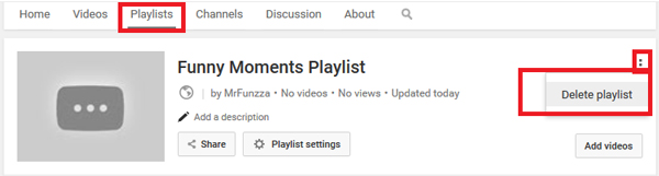 excluir playlists youtube