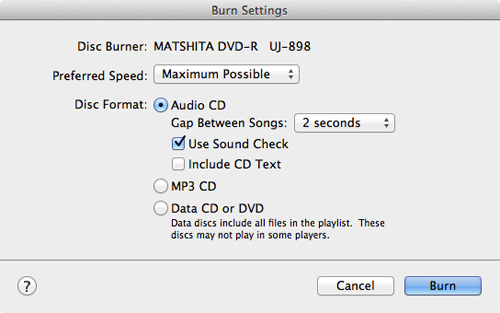 Passo 4 Gravar CD músicas iTunes