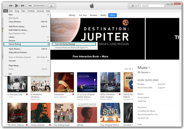 iTunes Home Sharing passo 1