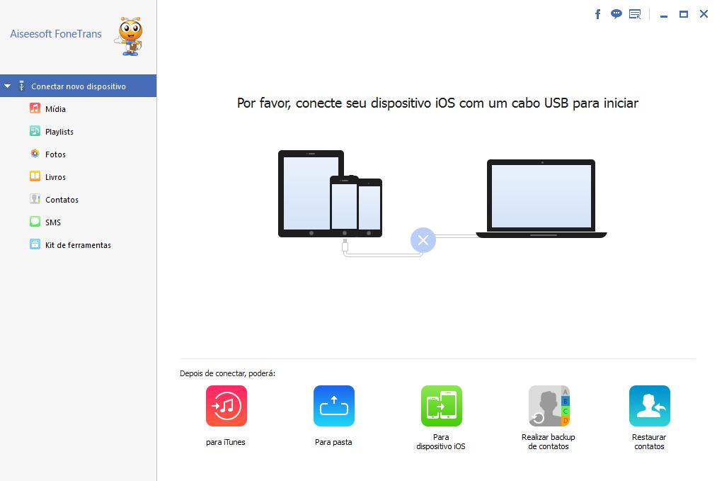 Programa transferir dados iOS Aiseesoft FoneTrans sincronizar contatos facebook