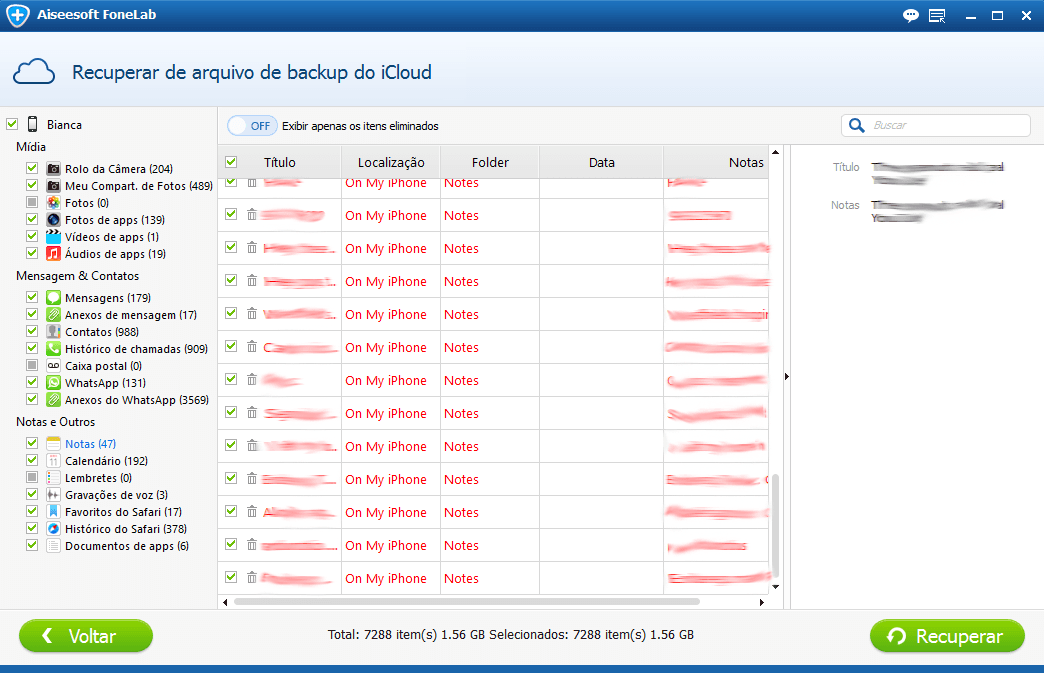Faça a análise do backup para ver seus arquivos