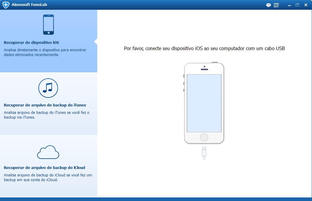 Abra o FoneLab e conecte seu iPhone