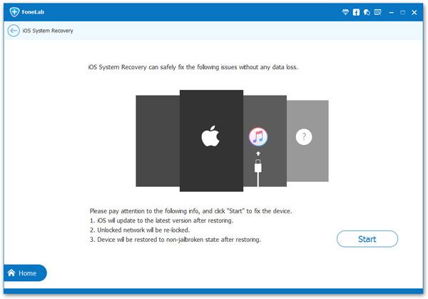 Detectar o dispositivo iPhone FoneLab