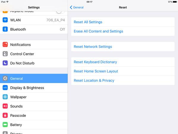 Redefinir configurações do iPad