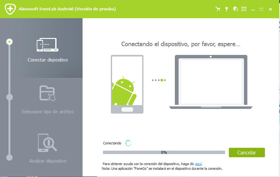 Conectar smartphone Android para recuperar archivos borrados