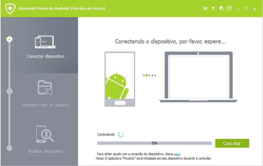 Conectar celular Android para recuperar arquivos apagados
