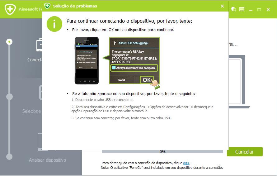 FoneLab Android - modo depuração USB