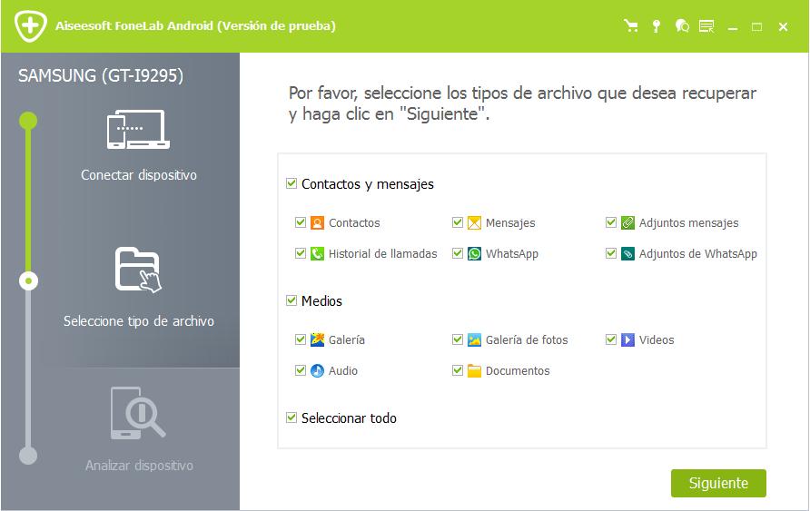 Seleccionar tipos de archivos para recuperar