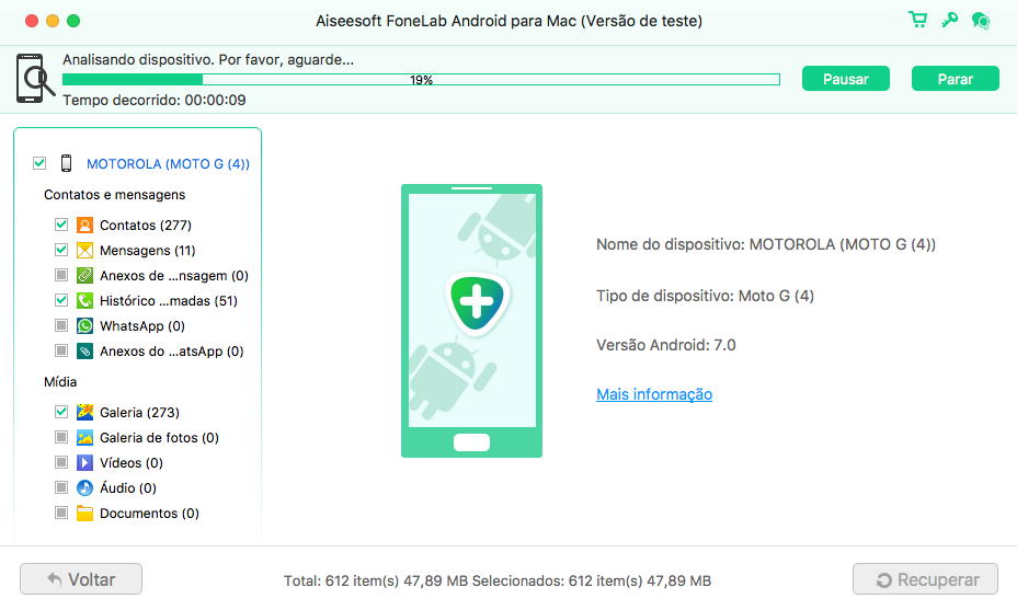 FoneLab Android Mac - recuperar arquivos excluídos
