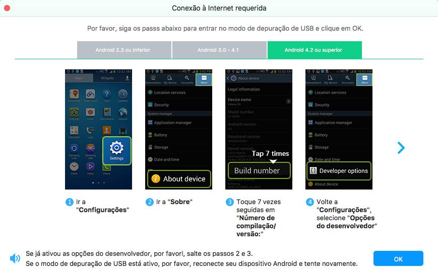 FoneLab Android Mac - modo depuração USB