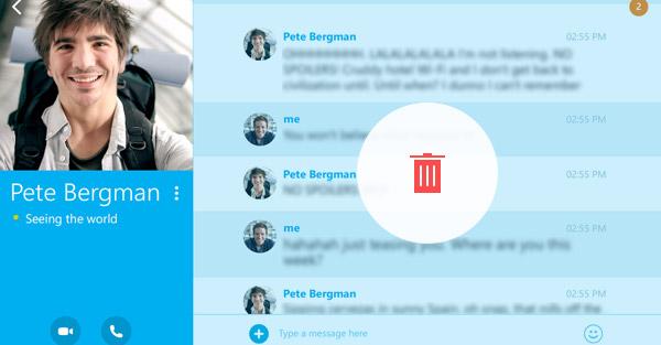 como deletar mensagens do skype