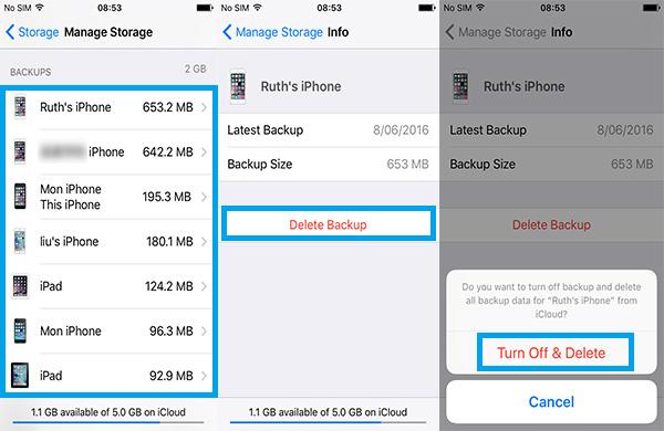 deletar backup iphone icloud