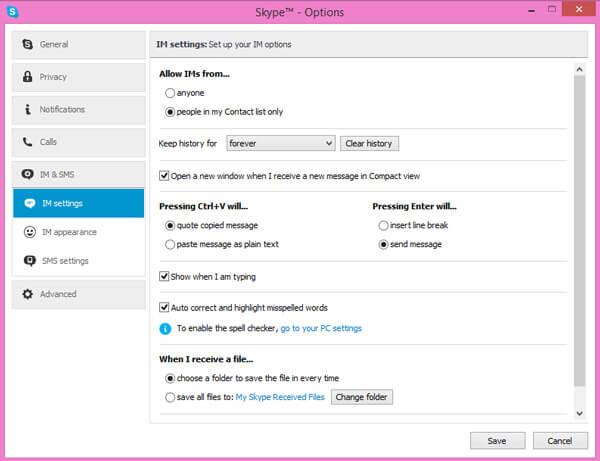 deletar mensagens skype