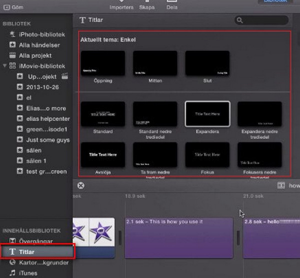 adicionar legendas imovie 10