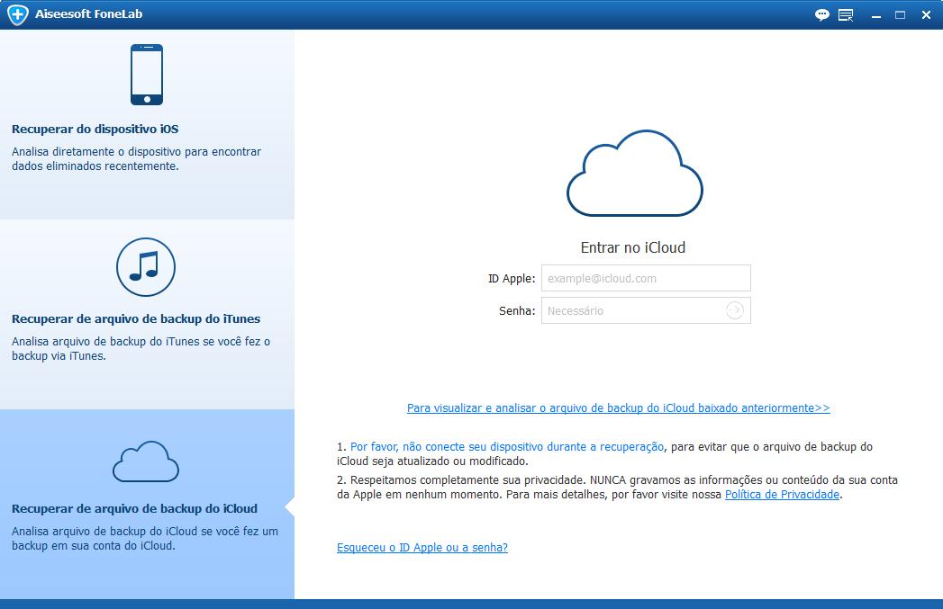 Entre em sua conta do iCloud no FoneLab