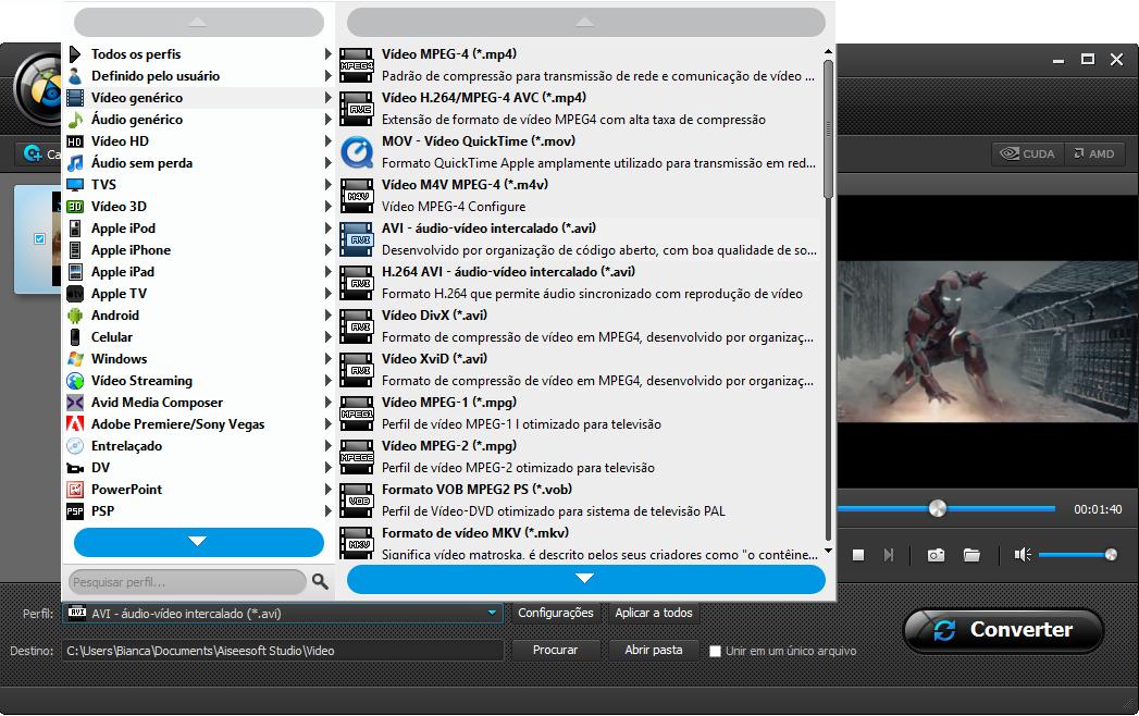 Selecione o formato de conversão de vídeo desejado