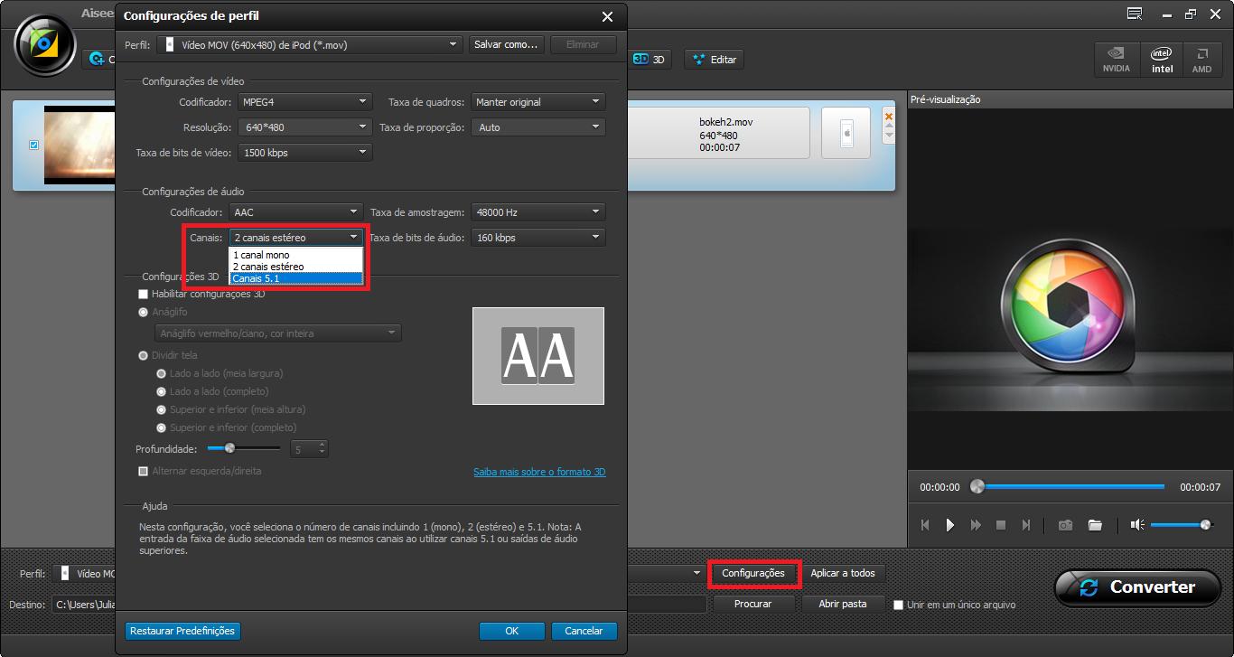 Selecione a opção Canais 5.1 nas Configurações de conversão de vídeo