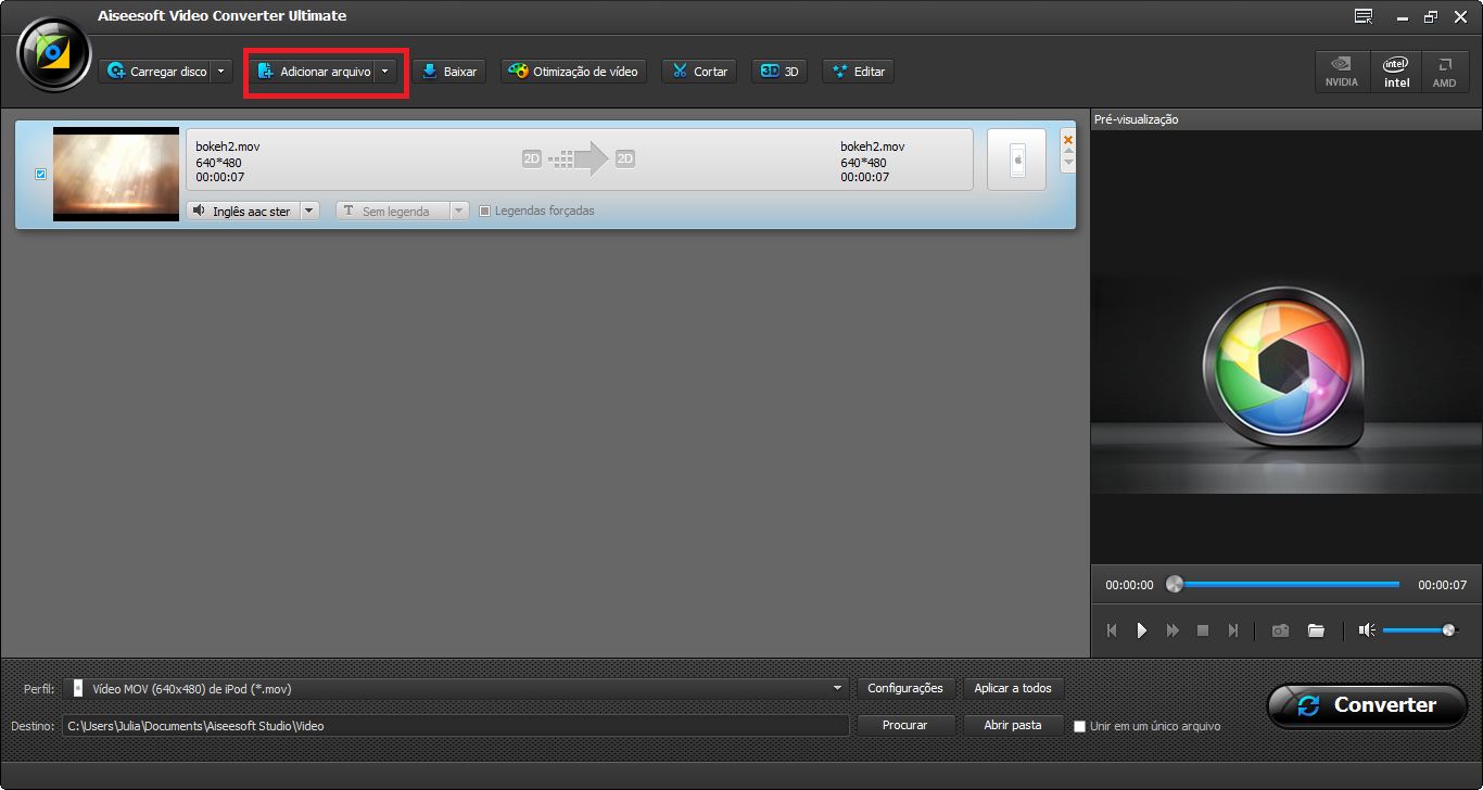 Adicione seus vídeos ao programa para converter vídeo