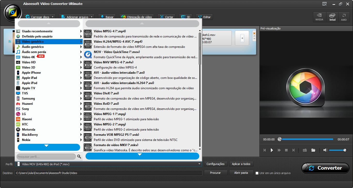 Selecione o perfil de conversão de vídeo desejado para converter video 4k