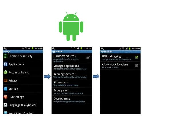 depuracao usb android