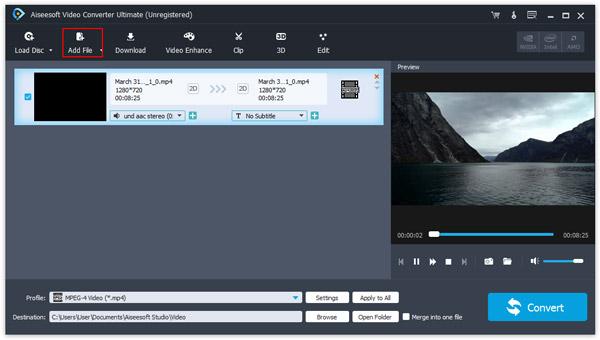 importar arquivos de video