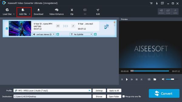 Agregar archivo al Editor de sonido vídeo