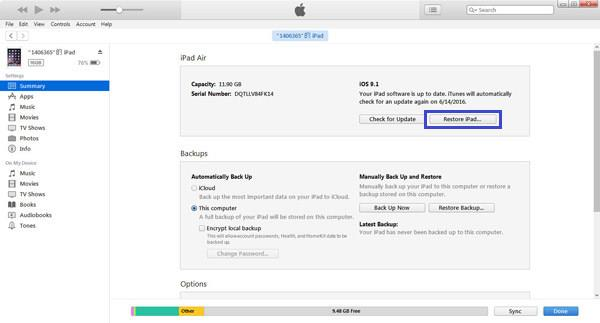 Restaurar iPad mediante iTunes