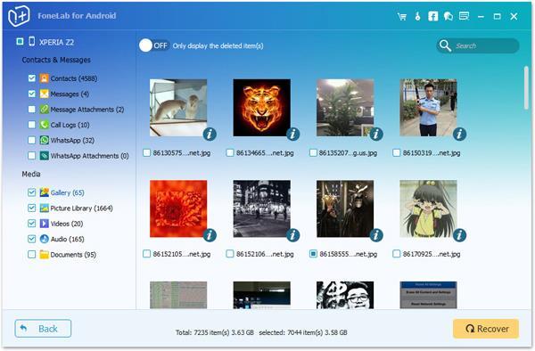 Recuperar fotos ocultas FoneLab Android