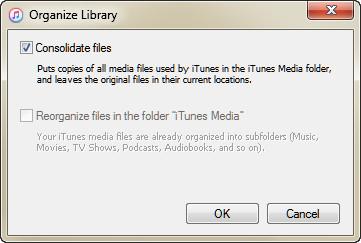 Consolidar arquivos iTunes