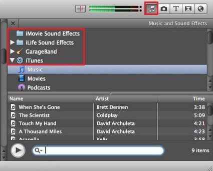Encontrar la música de fondo deseada en iMovie