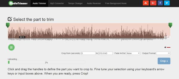Passo 1 cortar audios online