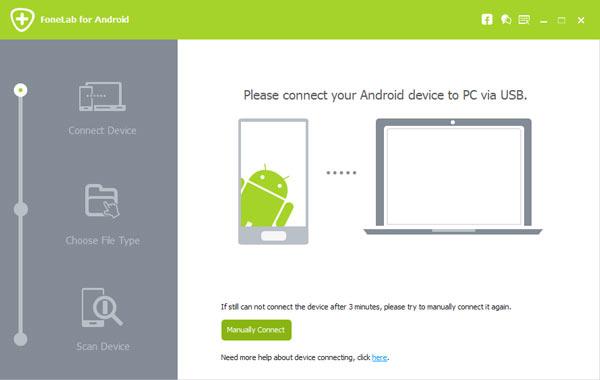 Abrir FoneLab Android e conectar dispositivo Samsung