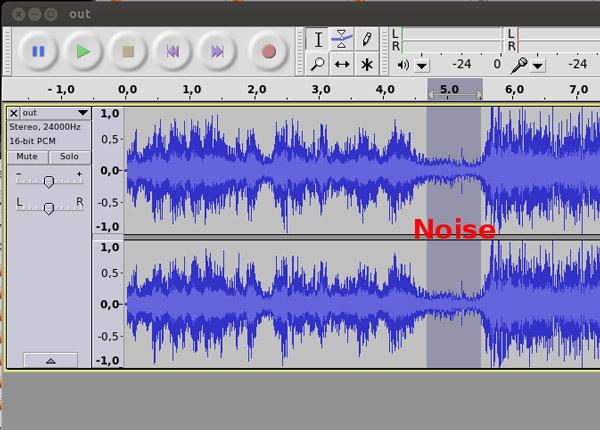 Passo 1 redução ruído Audacity