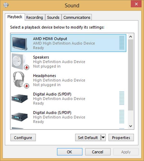 Passo 2 consertar áudio HDMI