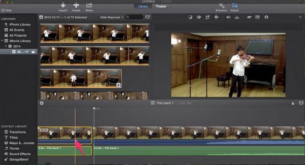 Passo 2 cortar áudio iMovie delete